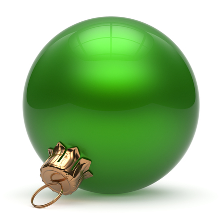 event: Christmas ball New Years Eve bauble wintertime decoration green sphere hanging adornment classic. Traditional winter ornament happy holidays Merry Xmas event symbol glossy blank. 3d render isolated