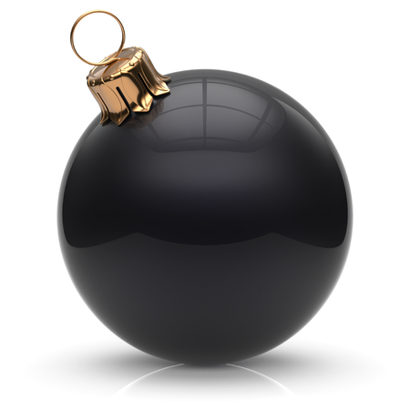 adornment: New Years Eve Christmas ball bauble wintertime decoration black sphere hanging adornment classic. Traditional winter ornament happy holidays Merry Xmas event symbol glossy blank. 3d render isolated Stock Photo