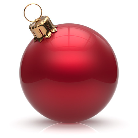 new christmas baubles: New Years Eve Christmas ball bauble wintertime decoration red sphere hanging adornment classic. Traditional winter ornament happy holidays Merry Xmas event symbol glossy blank. 3d render isolated Stock Photo