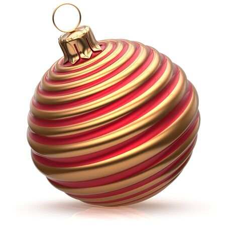 shiny christmas baubles: Christmas ball New Years Eve decoration bauble red golden wintertime hanging adornment classic. Traditional happy winter holidays ornament Merry Xmas event symbol glossy blank. 3d render isolated