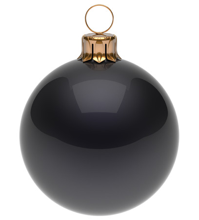 Christmas ball black New Year's Eve bauble wintertime decoration glossy sphere hanging adornment classic. Traditional winter ornament happy holidays Merry Xmas symbol blank round. 3d render isolated