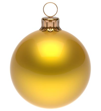 esfera: Bola de Navidad amarilla Eva chuchería de Año Nuevo invierno decoración esfera brillante colgando clásico adorno. Ornamento tradicional de invierno felices fiestas feliz Navidad símbolo redondos en blanco. 3d render aislado Foto de archivo