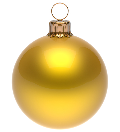isolated on yellow: Christmas ball yellow New Years Eve bauble wintertime decoration glossy sphere hanging adornment classic. Traditional winter ornament happy holidays Merry Xmas symbol blank round. 3d render isolated