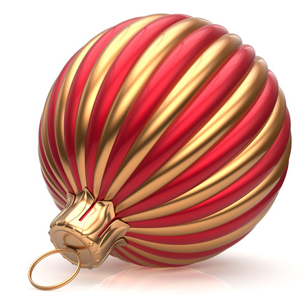shiny icon: Christmas ball New Years Eve bauble decoration red golden wintertime hanging adornment classic. Traditional ornament happy winter holidays Merry Xmas event symbol glossy blank. 3d render isolated Stock Photo