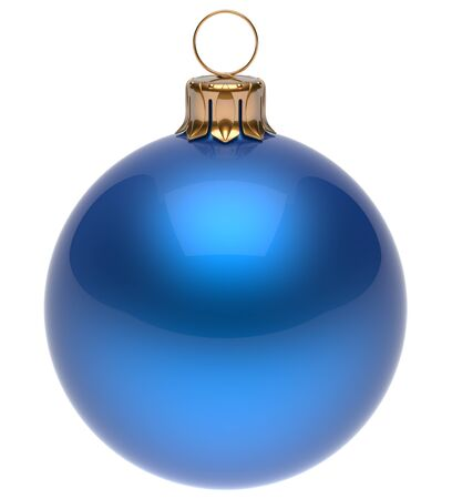 blue: Christmas ball blue New Years Eve bauble wintertime decoration glossy sphere hanging adornment classic. Traditional winter ornament happy holidays Merry Xmas symbol blank round. 3d render isolated Stock Photo