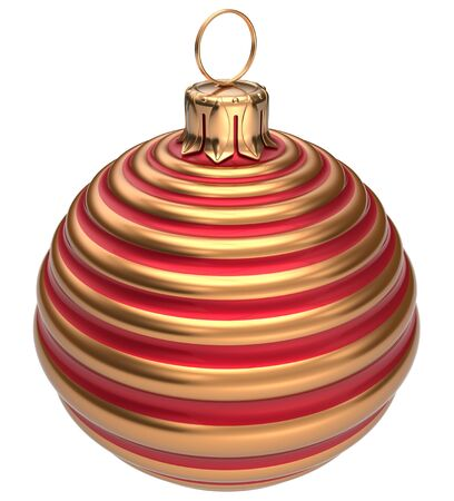 year 3d: Christmas ball New Years Eve decoration bauble golden red wintertime hanging adornment classic. Traditional happy winter holidays ornament Merry Xmas event symbol glossy blank. 3d render isolated
