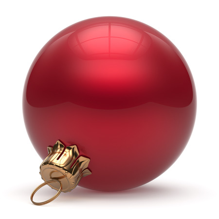 red sphere: Christmas ball New Years Eve bauble wintertime decoration red sphere hanging adornment classic. Traditional winter ornament happy holidays Merry Xmas event symbol glossy blank. 3d render isolated