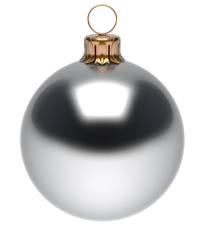 adornment: Christmas ball white New Years Eve bauble wintertime decoration glossy sphere hanging adornment classic. Traditional winter ornament happy holidays Merry Xmas symbol blank round. 3d render isolated