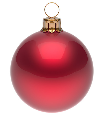 modern christmas baubles: Christmas ball red New Years Eve bauble wintertime decoration glossy sphere hanging adornment classic. Traditional winter ornament happy holidays Merry Xmas symbol blank round. 3d render isolated