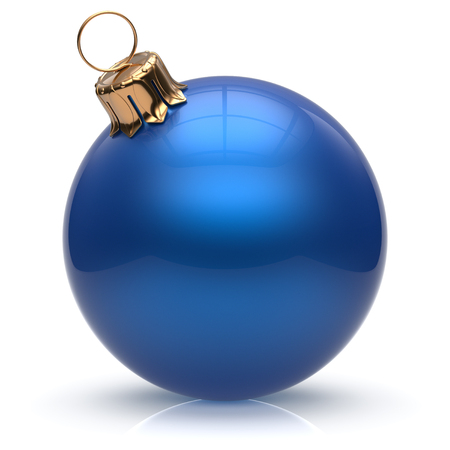 christmasball: New Years Eve Christmas ball bauble wintertime decoration blue sphere hanging adornment classic. Traditional winter ornament happy holidays Merry Xmas event symbol glossy blank. 3d render isolated