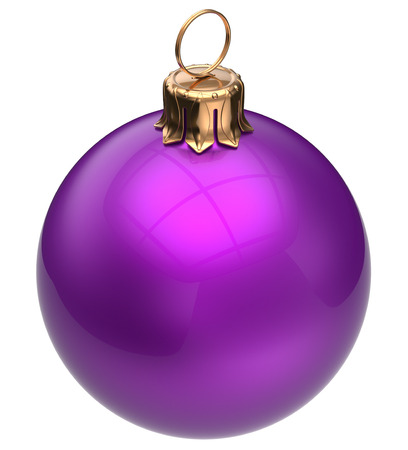 adornment: Christmas ball purple New Years Eve bauble wintertime decoration glossy sphere hanging adornment classic. Traditional winter ornament happy holidays Merry Xmas symbol blank round. 3d render isolated