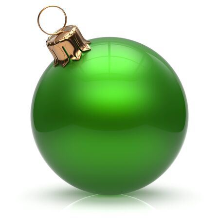 adornment: New Years Eve Christmas ball bauble wintertime decoration green sphere hanging adornment classic. Traditional winter ornament happy holidays Merry Xmas event symbol glossy blank. 3d render isolated Stock Photo