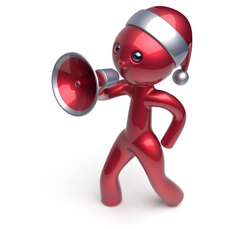 communication cartoon: Santa Claus hat man speaking megaphone character New Years Eve Merry Christmas holiday sale news communication announcement stylized red human cartoon guy speaker person Xmas figure 3d render isolated