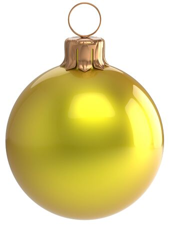christmasball: Christmas ball New Years Eve bauble yellow wintertime decoration sphere hanging adornment classic. Traditional winter holidays home ornament Merry Xmas event symbol shiny blank. 3d render isolated Stock Photo
