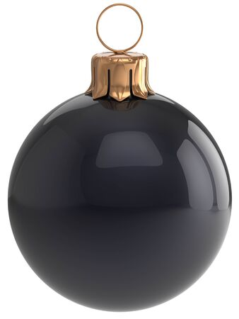 adornment: Christmas ball New Years Eve bauble black wintertime decoration sphere hanging adornment classic. Traditional winter holidays home ornament Merry Xmas event symbol shiny blank. 3d render isolated