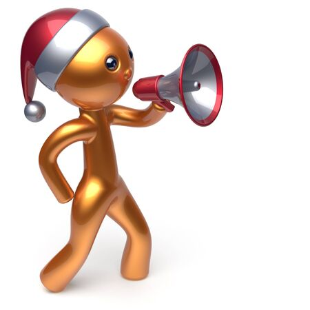 merrychristmas: Santa Claus hat man speaking megaphone Merry Christmas character New Years Eve holiday sale news communication announcement stylized golden human cartoon speaker person Xmas figure 3d render isolated