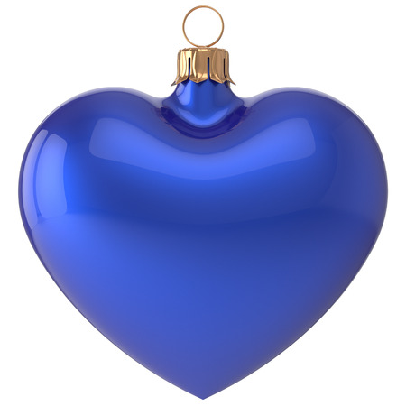 adornment: Christmas ball heart New Years Eve bauble love decoration blue blank adornment. Merry Xmas traditional wintertime holidays ornament romantic. 3d render isolated on white background Stock Photo