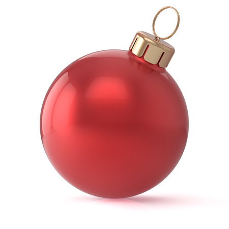 christmasball: Christmas ball red New Years Eve bauble wintertime decoration sphere hanging adornment classic. Traditional winter ornament happy holidays Merry Xmas event symbol glossy blank. 3d render isolated