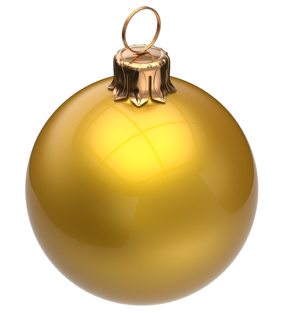 christmas balls: Christmas ball yellow New Years Eve bauble wintertime decoration glossy sphere hanging adornment classic. Traditional winter happy holidays ornament Merry Xmas symbol blank round. 3d render isolated Stock Photo