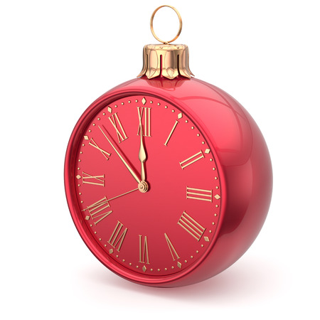 midnight hour: New Years Eve clock bauble Christmas ball decoration midnight countdown ornament red sparkly. Traditional wintertime happy holidays beginning time future hour symbol adornment. 3d render isolated