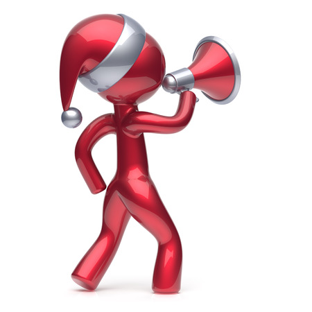 communication cartoon: Santa Claus hat man speaking megaphone Merry Christmas character New Years Eve holiday sale news communication announcement stylized red human cartoon guy speaker person Xmas figure 3d render isolated