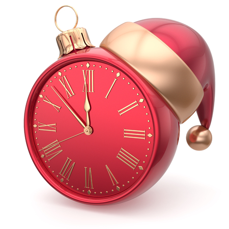 annual events: Happy New Year clock bauble Christmas ball Santa hat decoration ornament red golden. Traditional wintertime holidays midnight hour countdown beginning time future symbol adornment. 3d render isolated
