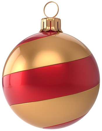 christmasball: Christmas ball decoration New Years Eve bauble golden red hanging sphere adornment modern. Traditional happy wintertime holidays ornament Merry Xmas symbol blank striped. 3d render isolated