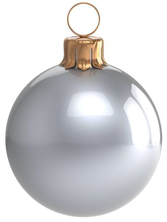 chrome ball: Christmas ball New Years Eve bauble white wintertime decoration silver chrome sphere hanging adornment classic. Traditional winter holidays home ornament Merry Xmas symbol blank. 3d render isolated