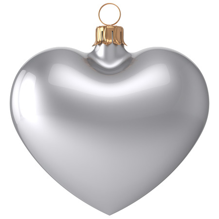 christmasball: Christmas ball heart New Years Eve bauble love decoration white blank adornment. Merry Xmas traditional wintertime holidays ornament romantic. 3d render isolated on white background Stock Photo