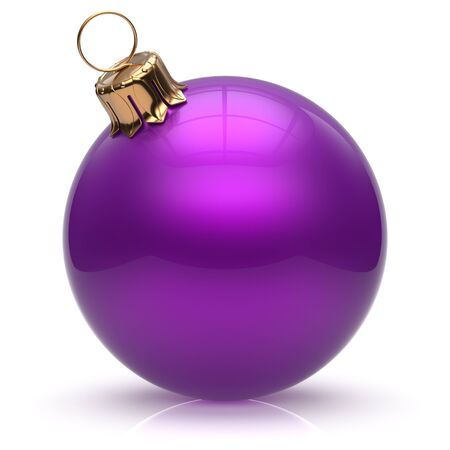 purple: Christmas ball New Years Eve bauble wintertime decoration purple sphere hanging adornment classic. Traditional winter ornament happy holidays Merry Xmas event symbol glossy blank. 3d render isolated