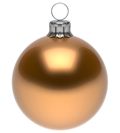 christmasball: Christmas ball golden New Years Eve bauble wintertime decoration glossy sphere hanging adornment classic. Traditional winter ornament happy holidays Merry Xmas symbol blank round. 3d render isolated Stock Photo
