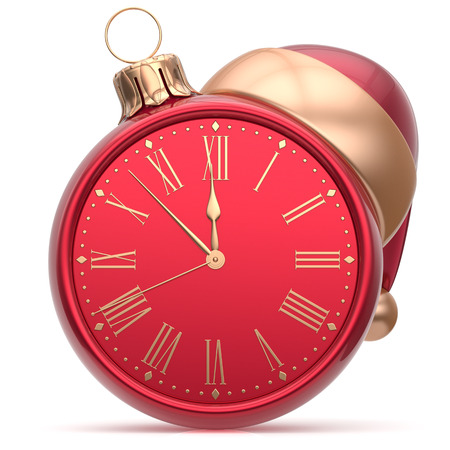 adornment: New Years Eve clock Santa hat Christmas ball decoration bauble ornament red golden. Traditional wintertime holidays midnight hour countdown beginning time future symbol adornment. 3d render isolated Stock Photo