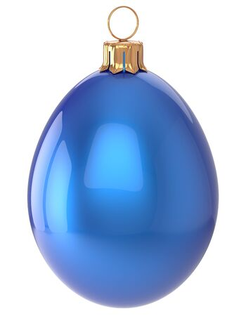 sparkly: Christmas ball egg New Years Eve bauble blue wintertime decoration glossy hanging adornment sparkly. Traditional winter happy holidays ornament Merry Xmas symbol shiny blank. 3d render isolated