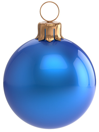 adornment: Christmas ball New Years Eve bauble blue wintertime decoration sphere hanging adornment classic. Traditional winter holidays home ornament Merry Xmas event symbol shiny blank. 3d render isolated