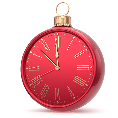 midnight hour: New Years Eve clock Christmas ball decoration bauble midnight countdown ornament red sparkly. Traditional wintertime happy holidays beginning time future hour symbol adornment. 3d render isolated