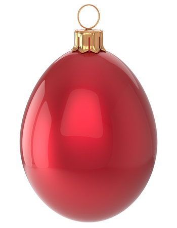 christmasball: Christmas ball egg New Years Eve bauble red wintertime decoration glossy hanging adornment sparkly. Traditional winter happy holidays ornament Merry Xmas symbol shiny blank. 3d render isolated