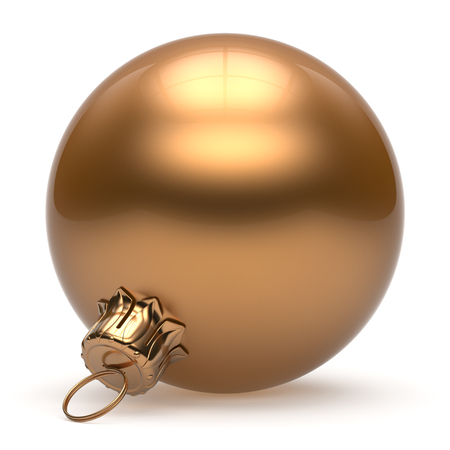 christmasball: Christmas ball New Years Eve bauble wintertime decoration golden sphere hanging adornment classic. Traditional winter ornament happy holidays Merry Xmas event symbol glossy blank. 3d render isolated Stock Photo