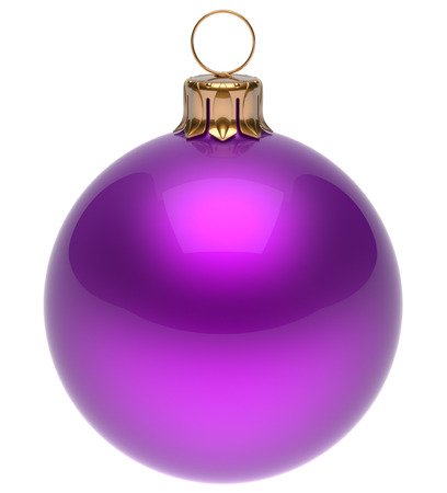 'christmas ball': Christmas ball purple New Years Eve bauble wintertime decoration glossy sphere hanging adornment classic. Traditional winter ornament happy holidays Merry Xmas symbol blank round. 3d render isolated