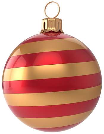 adornment: Christmas ball New Years Eve bauble golden red decoration hanging sphere adornment modern. Traditional happy wintertime holidays ornament Merry Xmas symbol blank striped. 3d render isolated Stock Photo
