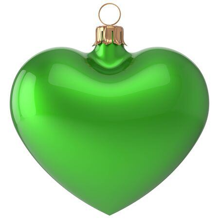 adornment: Christmas ball heart New Years Eve bauble love decoration green blank adornment. Merry Xmas traditional wintertime holidays ornament romantic. 3d render isolated on white background