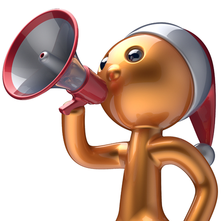 communication cartoon: Man speaking megaphone Santa Claus hat Merry Christmas character New Years Eve holiday sale news communication announce stylized golden human cartoon guy speaker person Xmas figure 3d render isolated