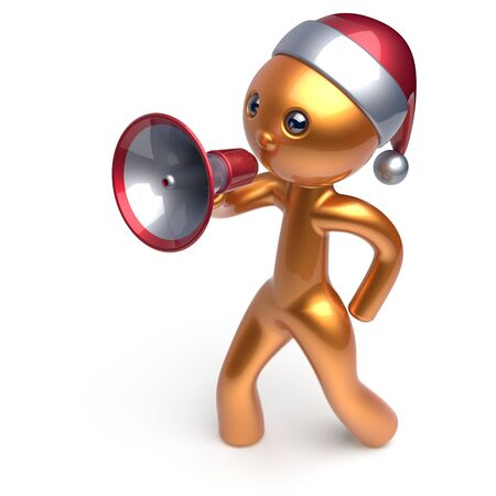 communication cartoon: Speaking megaphone Santa Claus hat man Merry Christmas character New Years Eve holiday sale news communication announcement stylized golden human cartoon speaker person Xmas figure 3d render isolated