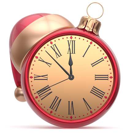 midnight hour: New Years Eve clock Santa hat Christmas ball decoration bauble ornament red golden. Traditional wintertime holidays midnight hour countdown beginning time future symbol adornment. 3d render isolated Stock Photo