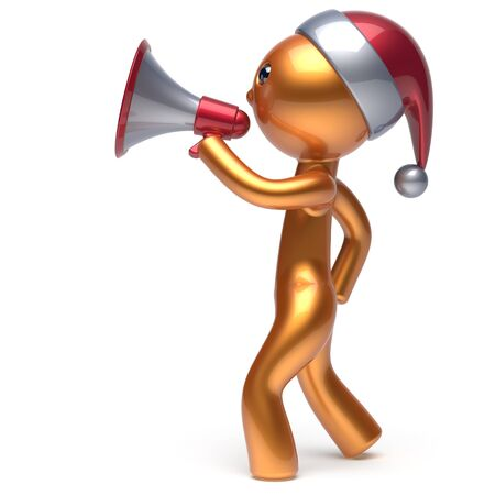 communication cartoon: Megaphone speaking Santa Claus hat man Merry Christmas character New Years Eve holiday sale news communication announcement stylized golden human cartoon speaker person Xmas figure 3d render isolated