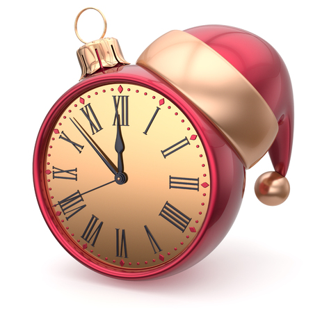 adornment: Happy New Year clock bauble Christmas ball Santa hat decoration ornament red golden. Traditional wintertime holidays midnight hour countdown beginning time future symbol adornment. 3d render isolated