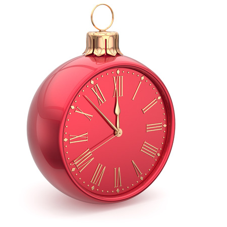 midnight hour: Christmas ball midnight clock decoration Happy New Year time bauble countdown ornament red sparkly. Traditional wintertime holidays beginning future hour symbol adornment. 3d render isolated Stock Photo