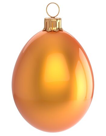 sparkly: Christmas ball egg New Years Eve bauble orange wintertime decoration glossy hanging adornment sparkly. Traditional winter happy holidays ornament Merry Xmas symbol shiny blank. 3d render isolated