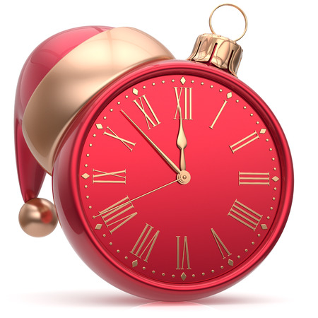 midnight hour: New Years Eve clock Christmas ball Santa hat decoration bauble ornament red sparkly. Traditional wintertime holidays midnight hour countdown beginning time future symbol adornment. 3d render isolated