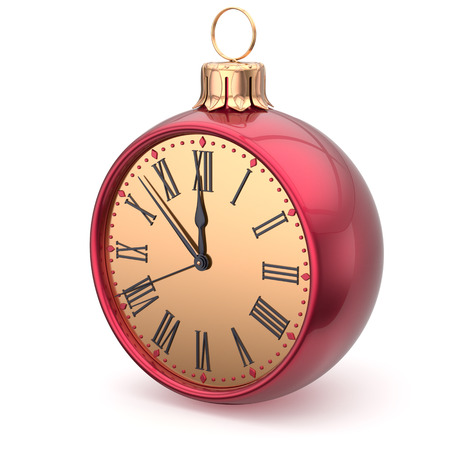 midnight hour: New Years Eve time Christmas ball midnight clock decoration bauble countdown ornament red sparkly. Traditional wintertime holidays beginning future hour symbol adornment. 3d render isolated