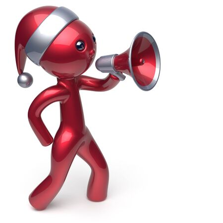 communication cartoon: New Years Eve man speaking megaphone Santa Claus hat character Merry Christmas holiday sale news communication announcement stylized red human cartoon guy speaker person Xmas figure 3d render isolated